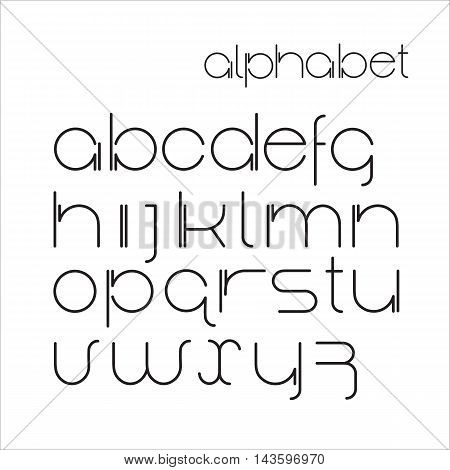 Vector minimalist  alphabet lower case letters. Font design. Black thin letters on white background.