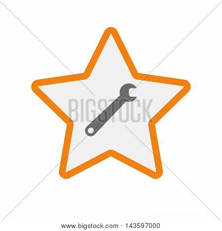 Isolated Line Art Star Icon With A Spanner