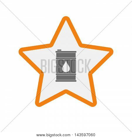 Isolated Line Art Star Icon With A Barrel Of Oil