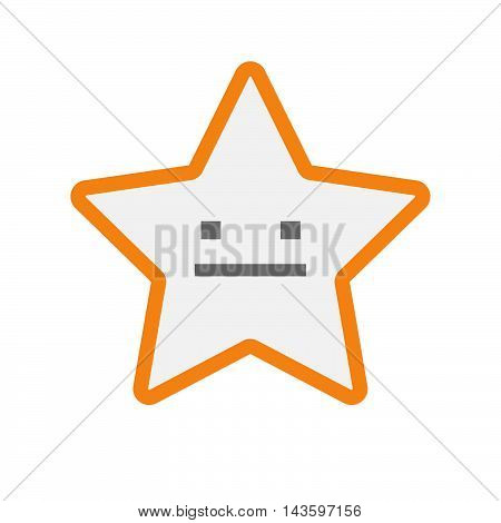 Isolated Line Art Star Icon With A Emotionless Text Face