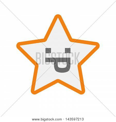 Isolated Line Art Star Icon With A Sticking Out Tongue Text Face