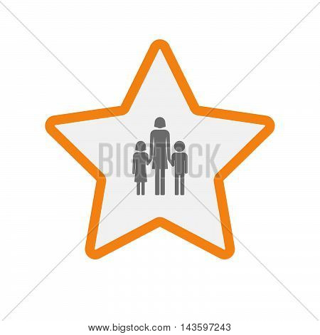 Isolated Line Art Star Icon With A Female Single Parent Family Pictogram