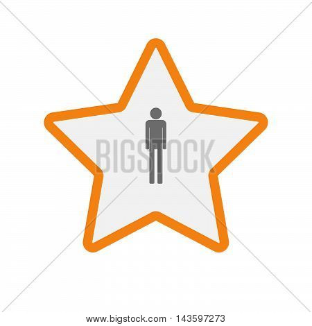 Isolated Line Art Star Icon With A Male Pictogram