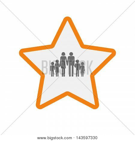 Isolated Line Art Star Icon With A Large Family  Pictogram