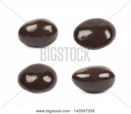 Chocolate coated almond nut isolated over the white background, set of four different foreshortenings
