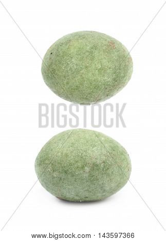 Green wasabi coated peanut isolated over the white background, set of two different foreshortenings