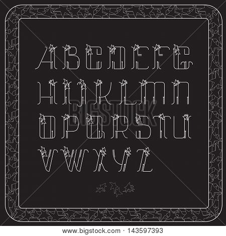 Vector  alphabet. Letters and frame with stars on black background. Lines font design.