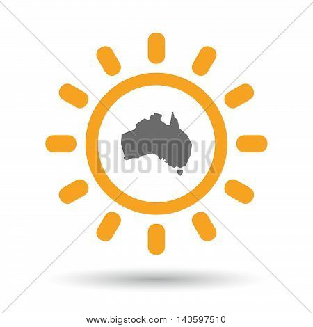 Isolated Line Art Sun Icon With  A Map Of Australia