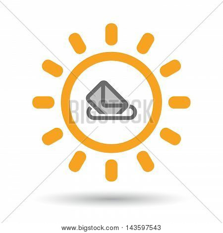 Isolated Line Art Sun Icon With  A Ballot Box