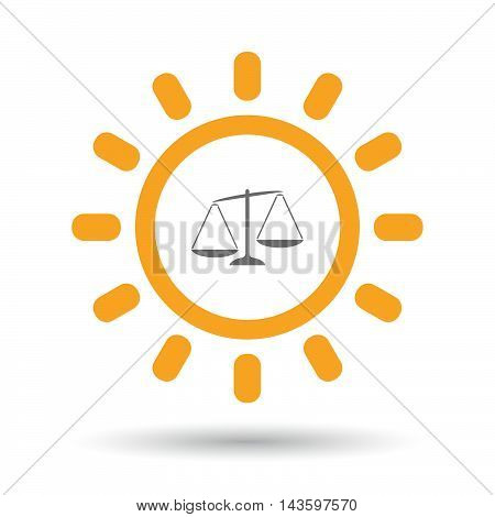 Isolated Line Art Sun Icon With  An Unbalanced Weight Scale
