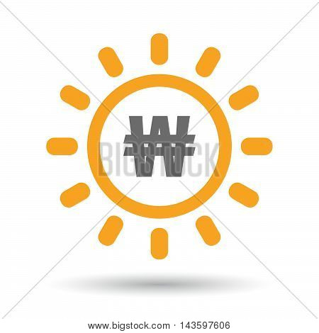 Isolated Line Art Sun Icon With A Won Currency Sign