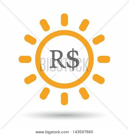 Isolated Line Art Sun Icon With A Brazillian Real Currency Sign