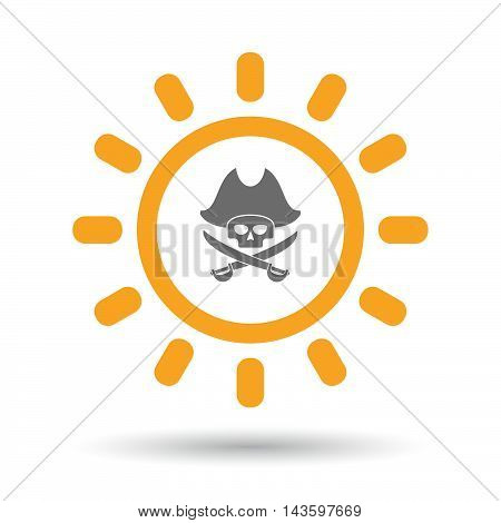 Isolated Line Art Sun Icon With A Pirate Skull