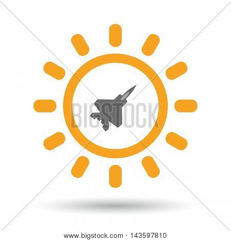 Isolated Line Art Sun Icon With A Combat Plane