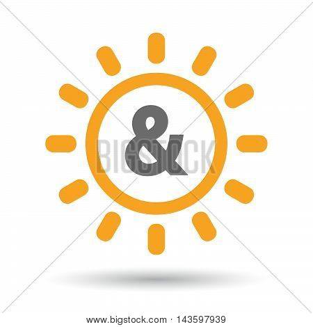 Isolated Line Art Sun Icon With An Ampersand