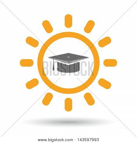 Isolated Line Art Sun Icon With A Graduation Cap