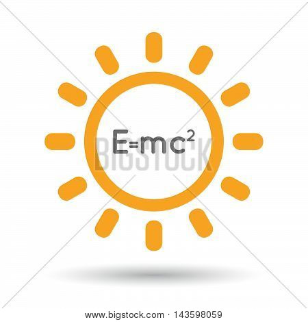 Isolated Line Art Sun Icon With The Theory Of Relativity Formula
