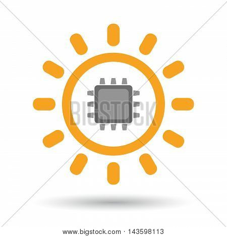 Isolated Line Art Sun Icon With A Cpu