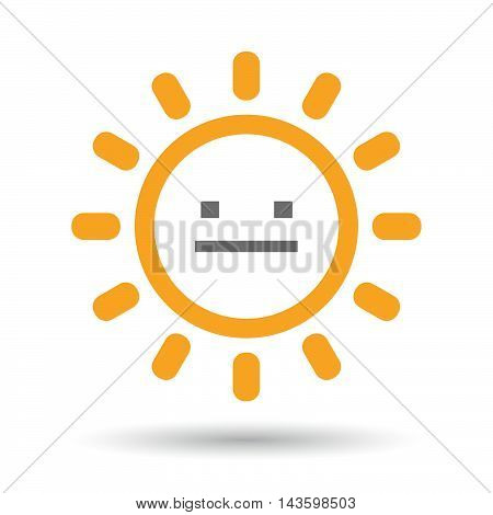 Isolated Line Art Sun Icon With A Emotionless Text Face