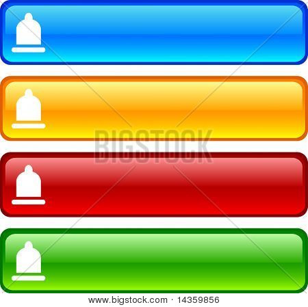 Condom glossy buttons. Vector illustration.
