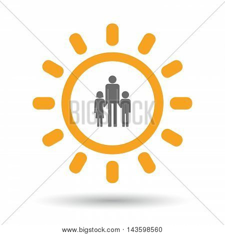 Isolated Line Art Sun Icon With A Male Single Parent Family Pictogram