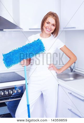 Housewife With A Mop