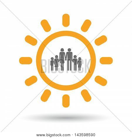 Isolated Line Art Sun Icon With A Large Family  Pictogram