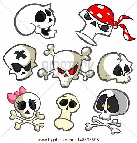 A collection of vector cartoon skulls in various styles. Skull icons. Halloween elements for party decoration