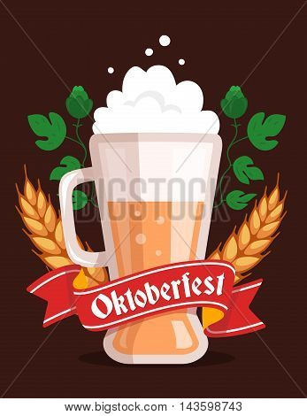 Vector Colorful Illustration Of Big Mug Of Yellow Beer With Ears Wheat, Leaf Hops, Red Ribbon And Te