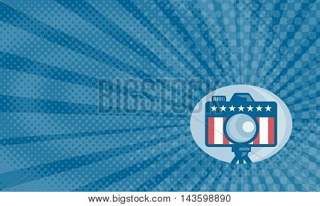 Business card showing Illustration of a dslr camera with american stars and stripes flag set inside circle done in retro style.