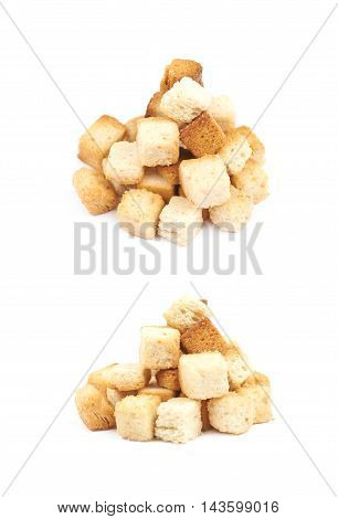 Pile of garlic white bread croutons isolated over the white background set of two different foreshortenings