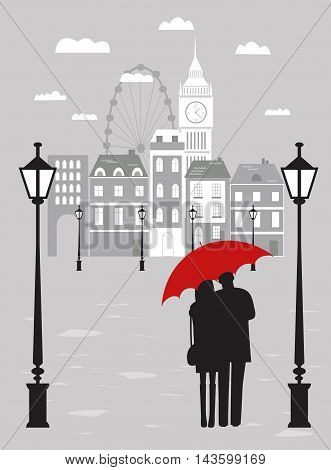 Man and woman with umbrella in London city in rainy day.
