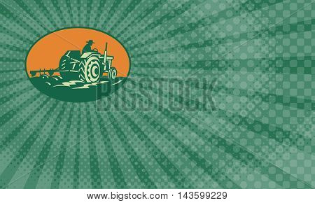 Business card showing retro illustration of a farmer worker driving a vintage farm tractor plowing field set inside ellipse.