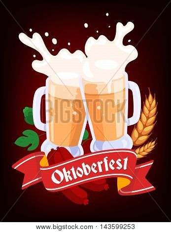 Vector Colorful Illustration Of Two Big Mugs Of Yellow Beer With Ears Wheat, Green Leaf Hops, Sausag