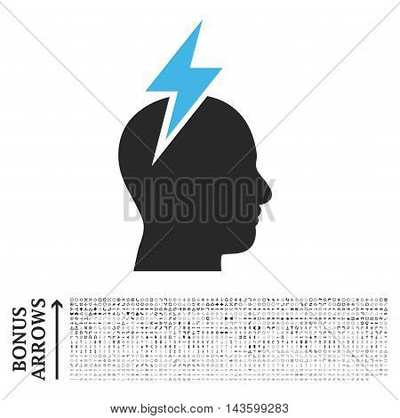 Headache icon with 1200 bonus arrow and direction pictograms. Vector illustration style is flat iconic bicolor symbols, blue and gray colors, white background.