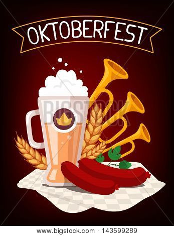 Vector Colorful Illustration Of Big Mug Of Yellow Beer With Ears Wheat, Green Leaf Hops, Sausage, Tr