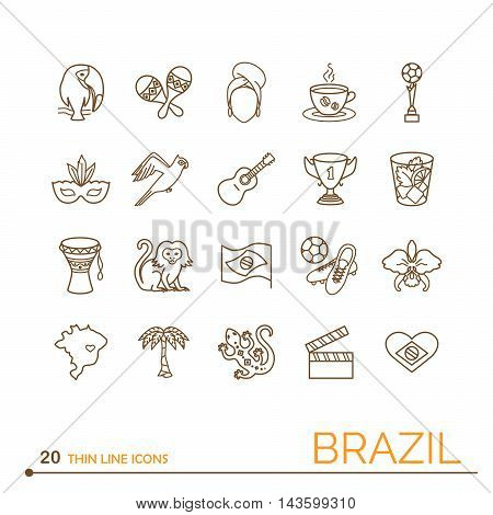 Thin line icons Brazil. EPS 10. Isolated objects