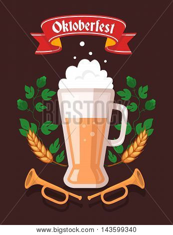 Vector Colorful Illustration Of Big Mug Of Yellow Beer With Ears Wheat, Green Leaf Hops, Trumpets, R