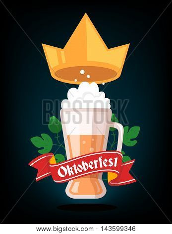 Vector Colorful Illustration Of Big Mug Of Yellow Beer With Golden Crown, Green Leaf Hops, Red Ribbo