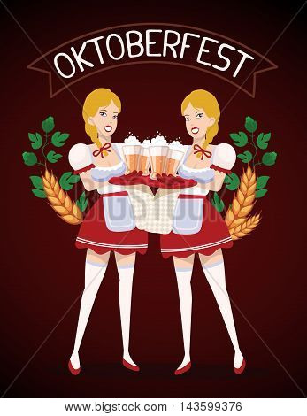 Vector Colorful Illustration Of Two German Girls Waitress In Traditional Clothes Holding Trays With