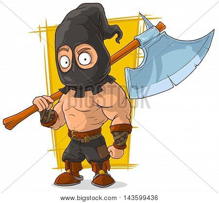 A vector illustration of cartoon masked executioner with big axe