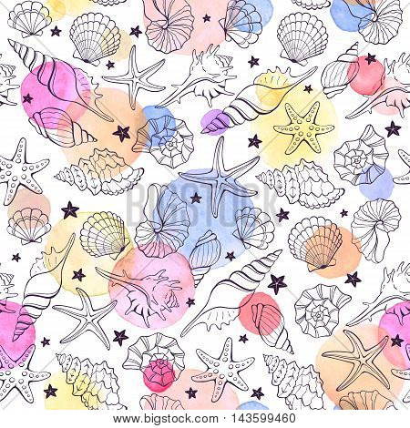 Marine seamless pattern from hand drawn sea shells and stars. Nautical illustration of shellfish with watercolor spots on white background.