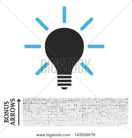 Light Bulb icon with 1200 bonus arrow and direction pictograms. Vector illustration style is flat iconic bicolor symbols, blue and gray colors, white background.