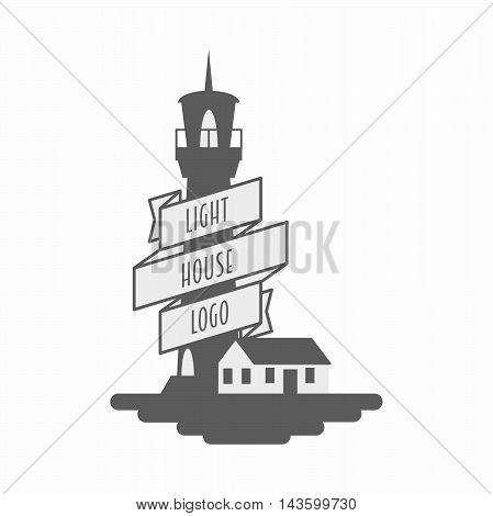 Vector Sign, Symbol Or Logo Design Concept With Lighthouse And Ribbon Black And White Monochrome Ill
