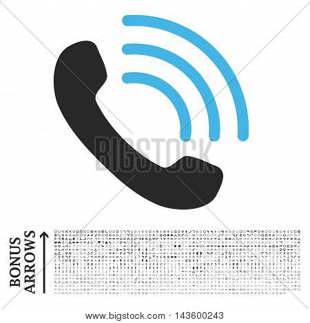 Phone Call icon with 1200 bonus arrow and navigation pictograms. Vector illustration style is flat iconic bicolor symbols, blue and gray colors, white background.