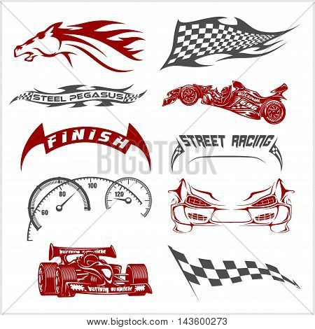 Vintage race car for printing. Retro street racing vector set.