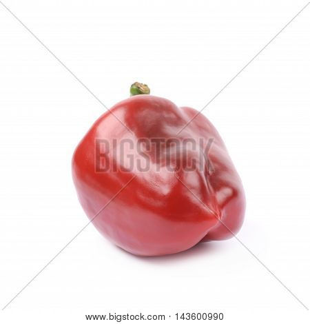 Ripe red bell pepper isolated over the white background