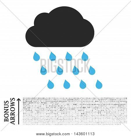 Rain Cloud icon with 1200 bonus arrow and navigation pictograms. Vector illustration style is flat iconic bicolor symbols, blue and gray colors, white background.