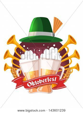 Vector Colorful Illustration Of Two Big Mugs Of Yellow Beer With Ears Wheat, Trumpets, Green Hat, Re
