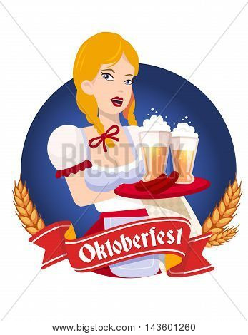 Vector Colorful Illustration Of German Girl Waitress In Traditional Clothes Holding Tray With Yellow